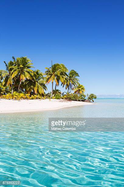 tropical beach and turquoise sea, aitutaki - insel stock-fotos und bilder