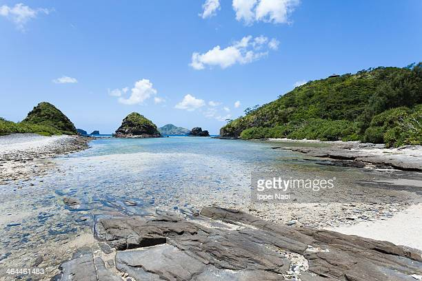 Tropical beach at low tide on a coral island