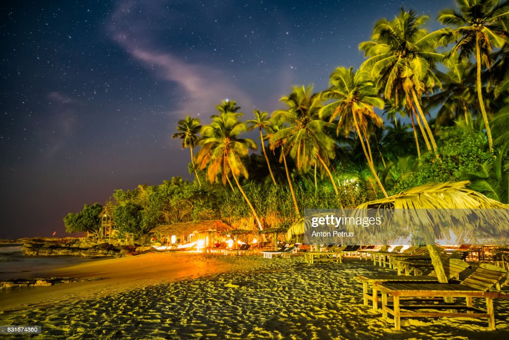 Tropical Beach At Night Under The Starry Sky High Res Stock