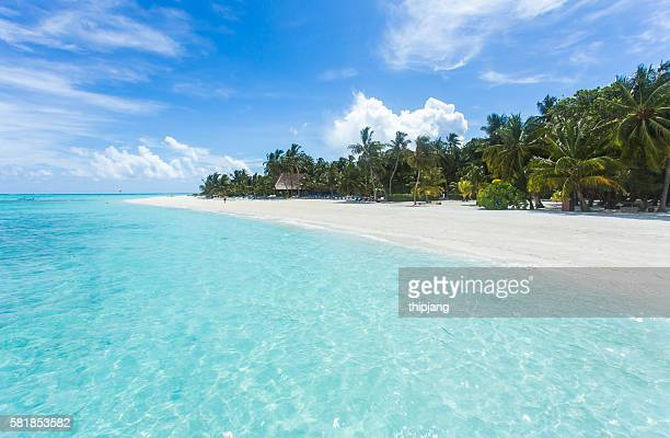 Tropical beach blue water and blue sky, Maldives islands