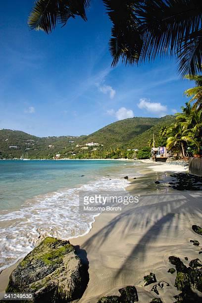 tropical beach, cane garden bay, tortola island, british virgin islands - cane garden bay stock pictures, royalty-free photos & images