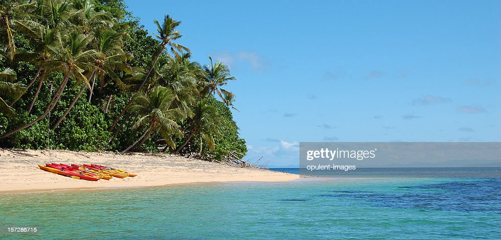 Tropical Beach Island Kayaking : Stock Photo
