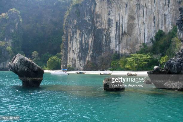 Tropical beach lagoon of turquoise color in Phang Nga bay, Thailand