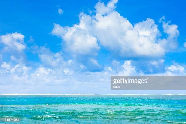tropical beach, Pacific Ocean, blue sky,  puffy clouds