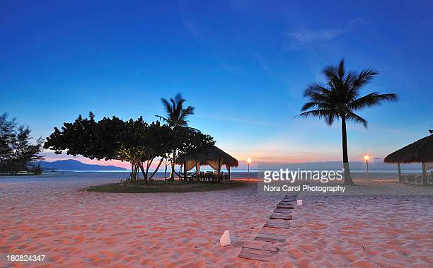 tropical beach with palm tree and a gazebo at dusk - kota kinabalu stock pictures, royalty-free photos & images
