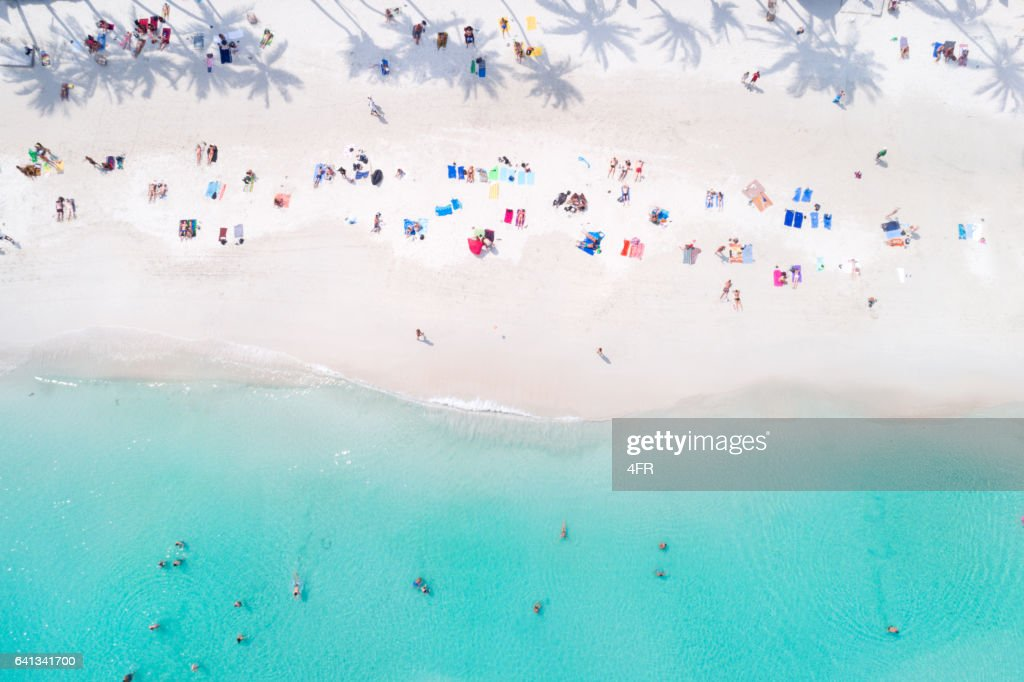 Tropical Beach with Palm Tree Shadows, Thailand : Stock Photo