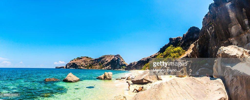 Tropical Beach with Rocks : Stock Photo