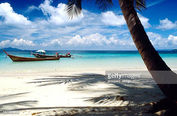 Tropical beach with white sand, palms and blue water, Thailand
