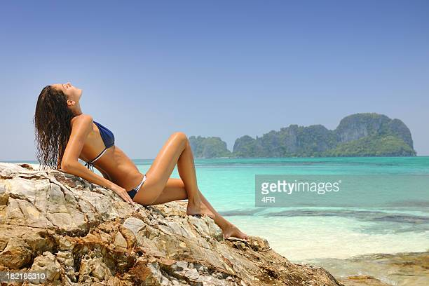 tropical beauty, woman relaxing in paradise (xxxl) - underweight stock photos and pictures