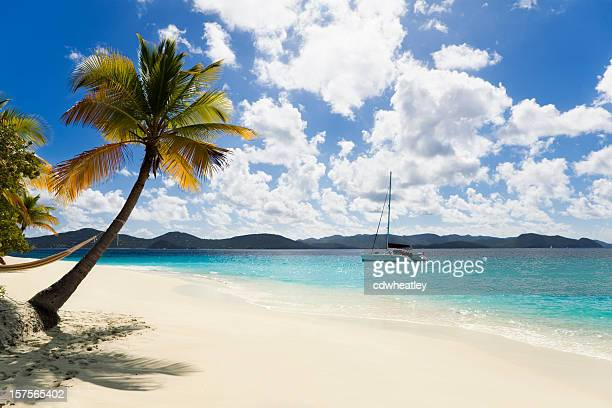 tropical caribbean island - catamaran stock photos and pictures