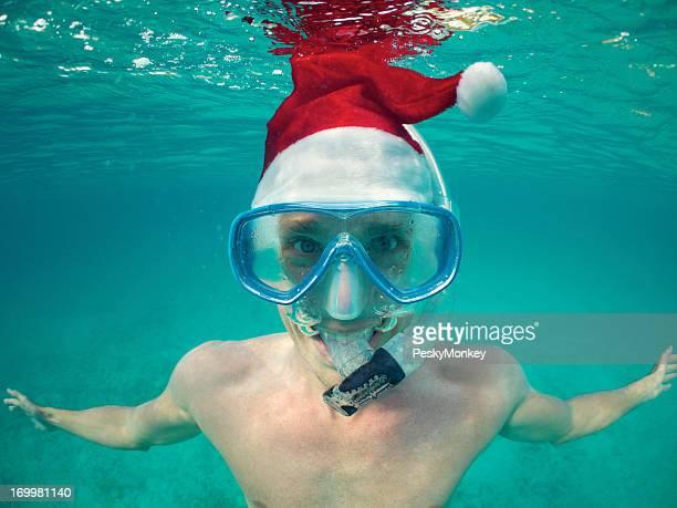 Tropical Christmas Vacation Santa Hat Snorkeling