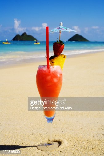 A Tropical Cocktail On The Beach Wave Washing Sand Stock