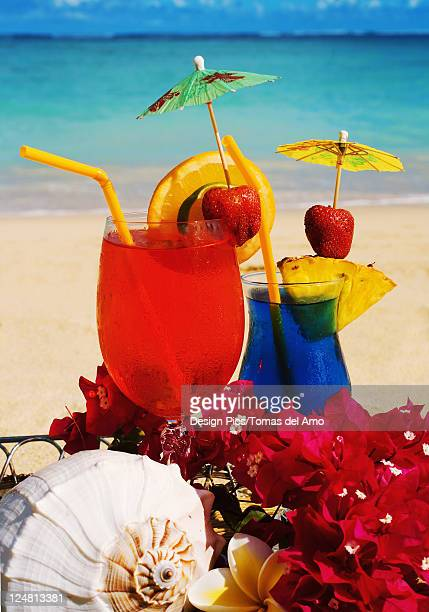 Tropical cocktails garnished with flowers and fruit on the beach.