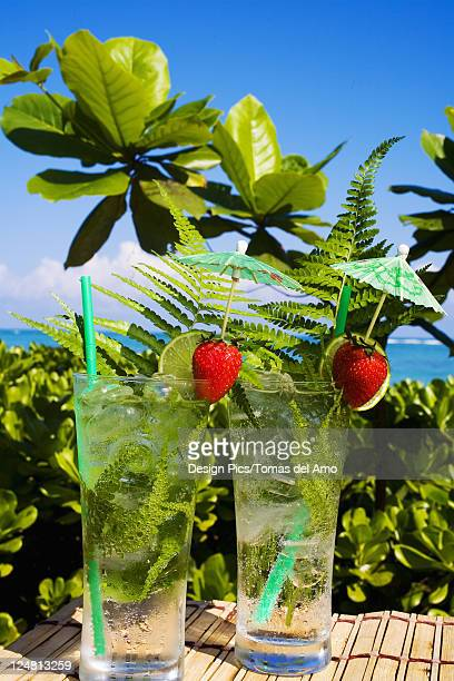 Tropical cocktails garnished with fruit and green fern leaves in outdoor setting.