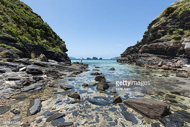 Tropical cove with clear water at low tide