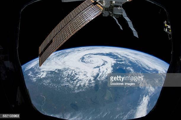 tropical cyclone located over northern saskatchewan, canada. - 宇宙ステーション ストックフォトと画像