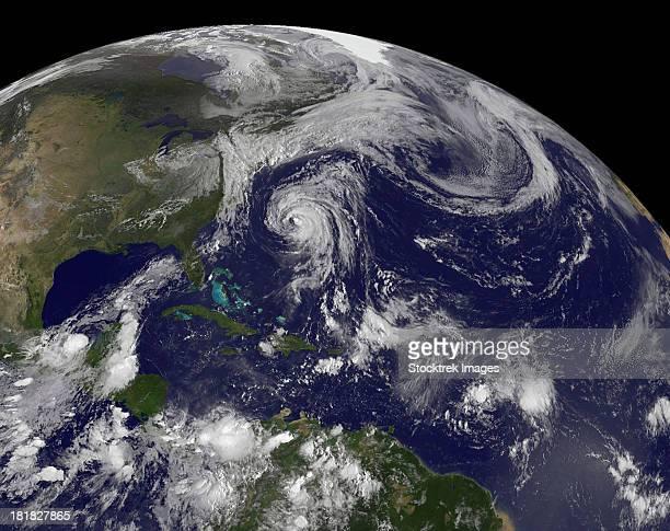 Tropical cyclones Katia, Lee, Maria and Nate in the Atlantic Ocean.