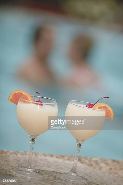 Tropical drinks by pool