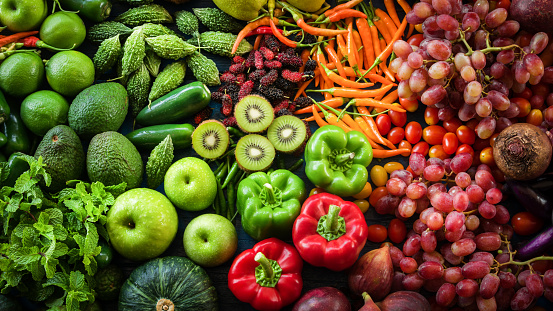 Tropical fresh fruits and vegetables organic for healthy lifestyle, Arrangement different vegetables organic for eating healthy and dieting 912915790