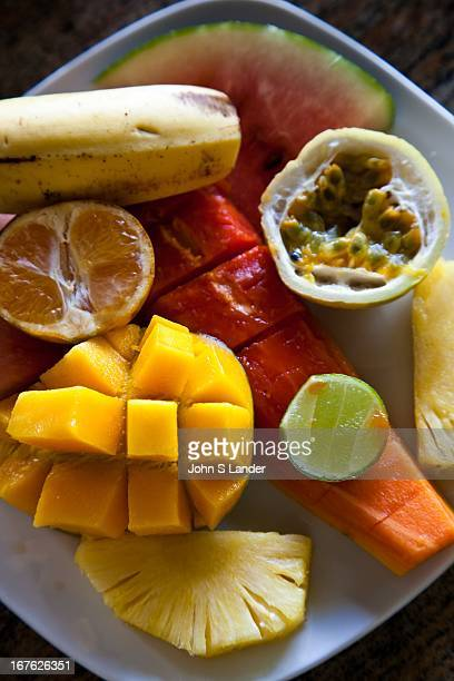 Tropical fruit plate in Sri Lanka Food in Sri Lanka means either curry seafood fresh from the sea or locally grown tropical fruit that grows in...