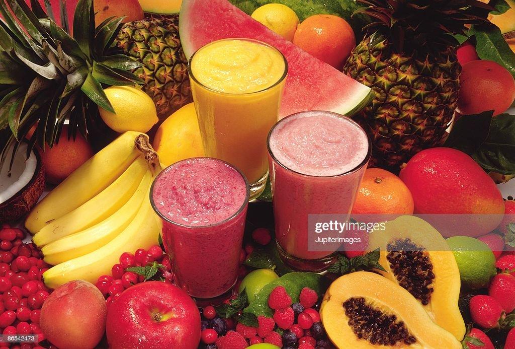 Tropical fruit smoothies : Stock Photo