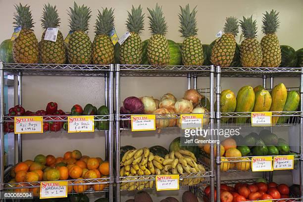 A tropical fruits display at El Palacio De Los Jugos