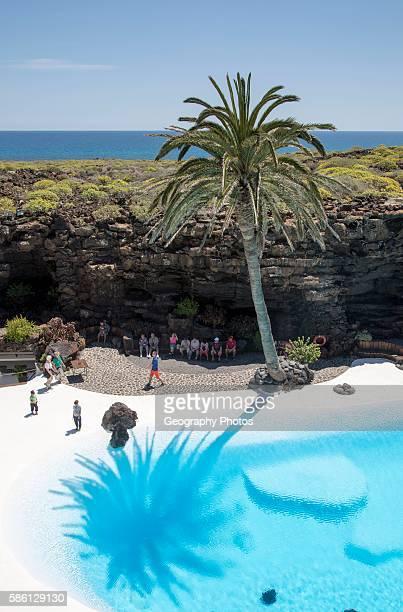 Tropical garden and Jameo Grande swimming pool Jameos de Aqua designed by Cesar Manrique, Lanzarote, Canary Islands, Spain.