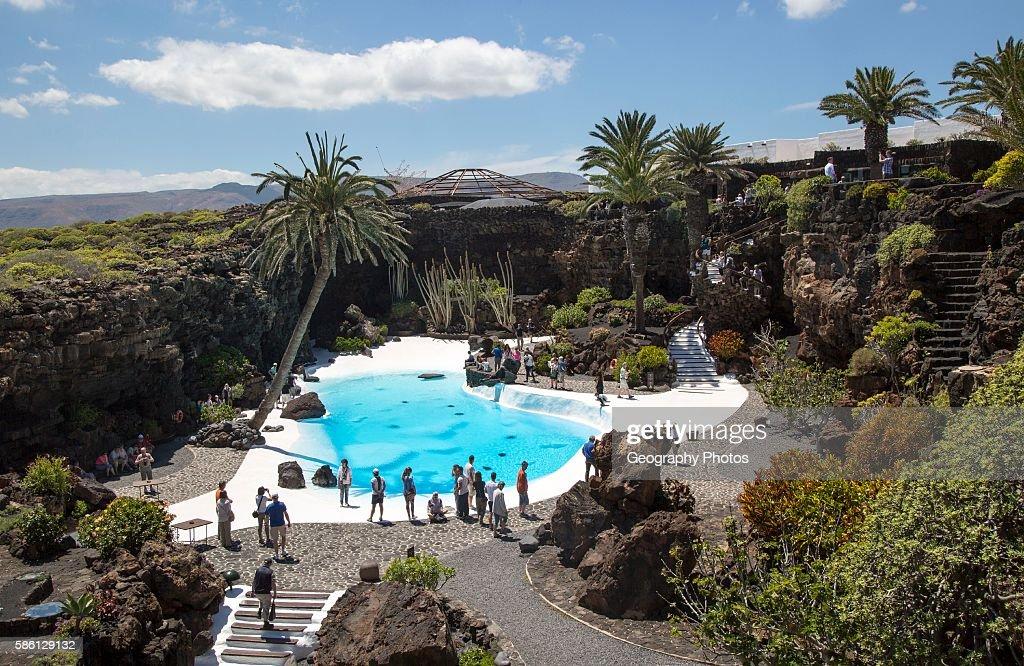Tropical garden and Jameo Grande swimming pool Jameos de ...