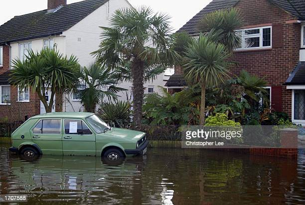 A tropical garden is flooded January 3 2003 in Chertsey United Kingdom The Environment Agency has issued flood warnings mainly for the south of...