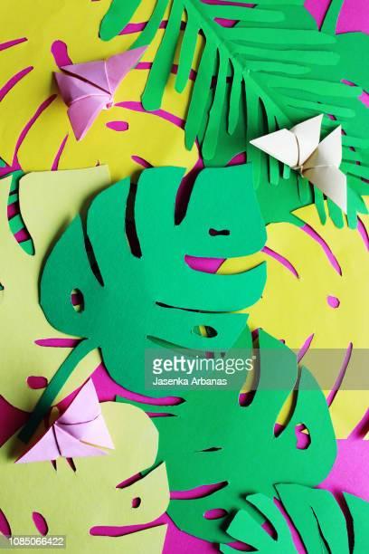 tropical garden - papierhandwerk stock-fotos und bilder