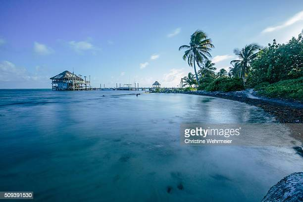 Tropical hut over the sea in San Pedro, Ambergris caye