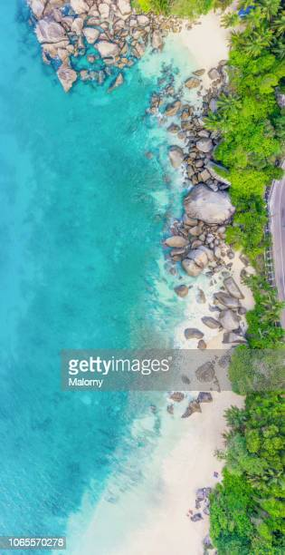 tropical island. aerial view or drone point of view of the beach of a white beach , with palm trees and granite rocks - lagoon stock pictures, royalty-free photos & images