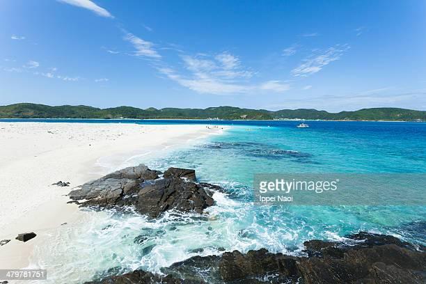 Tropical island beach and clear blue sea, Okinawa