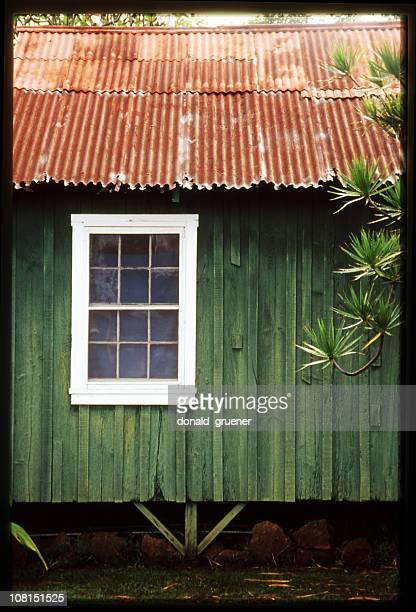 熱帯の島、ビーチ小屋に錫屋根と動画のボーダー - 掘建て小屋 ストックフォトと画像