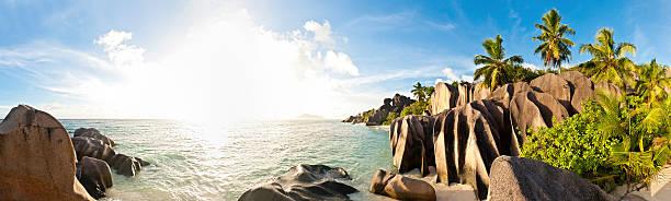 Tropical Island Beach Sunburst Palm Panorama Wall Art