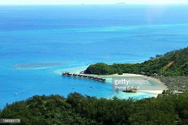 tropical island in fiji - malolo island - western division fiji stock photos and pictures
