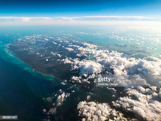Tropical island in the clouds aerial Bahamas