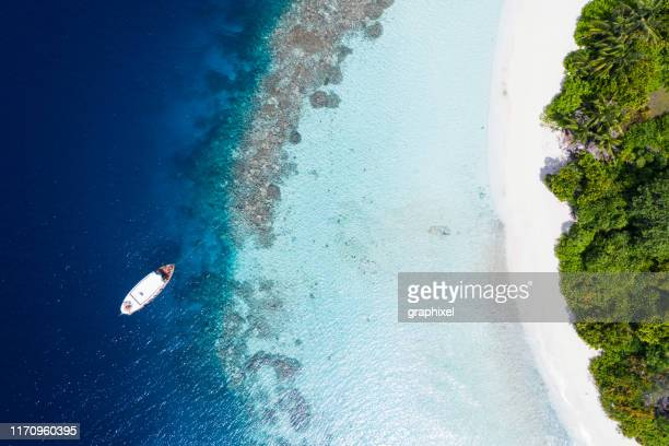 tropical island in the ocean - travel destinations stock pictures, royalty-free photos & images