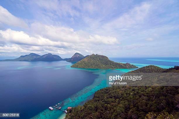 Tropical island of Bohey Dulang near Siapdan Island, Sabah Borneo, Malaysia