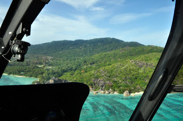 tropical island view through the helicopter window