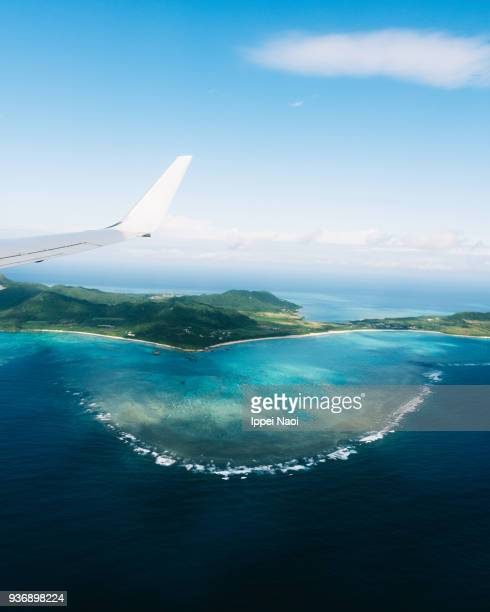 Tropical island with coral reefs from above, Ishigaki, Japan