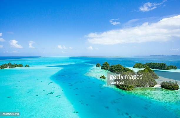Tropical islands and clear water from above, Palau