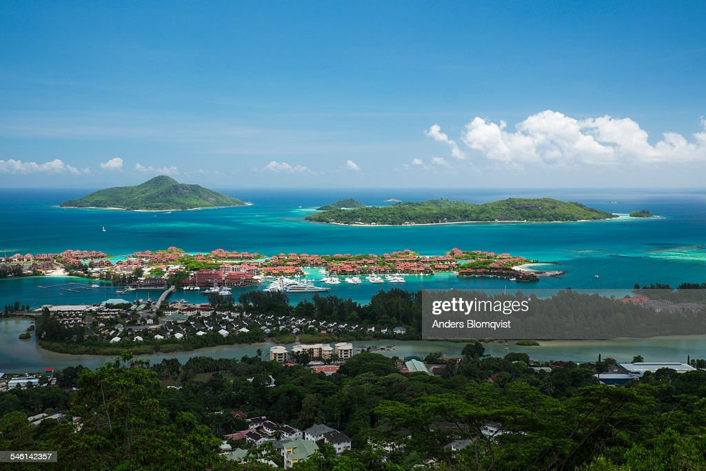Tropical islands and luxury development on Mahe : Stock Photo