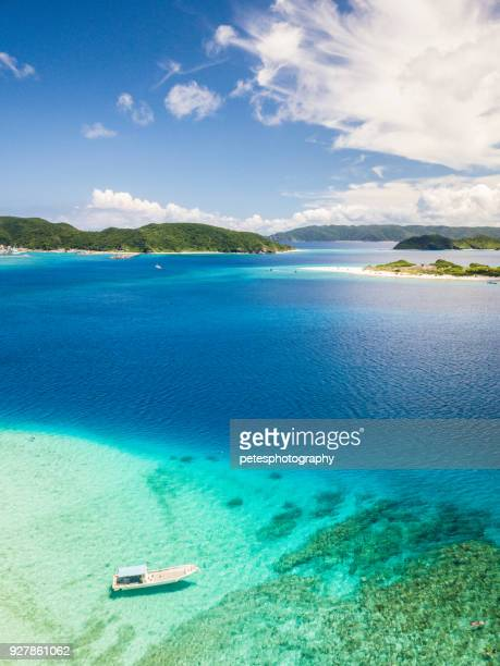 tropical islands from above - okinawa prefecture stock pictures, royalty-free photos & images