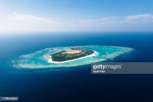 Tropical Japanese island with coral reef from above, Okinawa