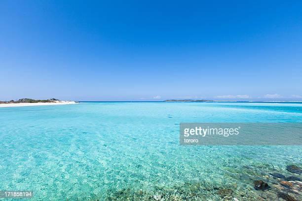 Tropical lagoon beach and clear blue water