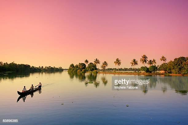 Tropical landscape along Kerala Backwaters