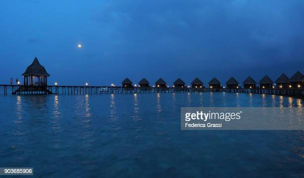 tropical maldivian lagoon in the blue hour with supermoon - indo pacific ocean stock pictures, royalty-free photos & images