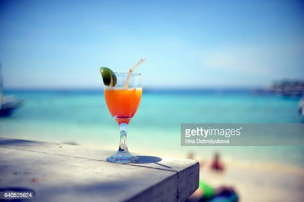 tropical mocktail on a beach, Gili Islands, Indonesia
