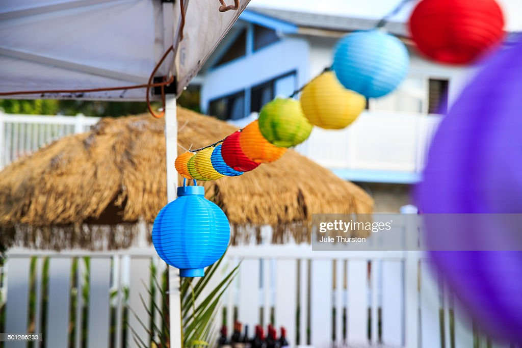 Tropical Outdoor Party Lanterns And Umbrella : Stock Photo
